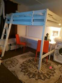 DOUBLE BED/ DESK / 2 ORANGE CHAIRS