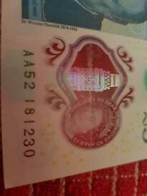 New polymer 5 pound note with aa serial number