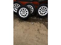 "BMW E46 ALLOY WHEELS AND TYRES 15"" ONLY £65 FOR THE SET"