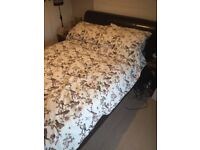 Double Bed - black faux leather