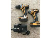 JCB brushes hammer drill driver and impact driver comes with 2x3ah li ion batteries and charger