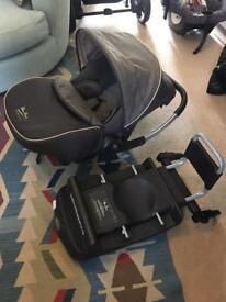 Silver Cross 3D travel system pram car seat isofix