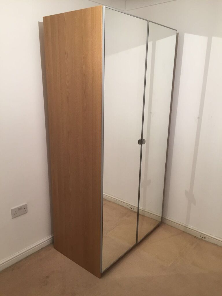 Ikea Pax Oak Wardrobe With Mirrored Doors