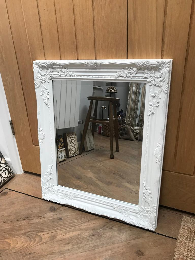 Beautiful White Ornate Framed Mirror
