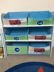Fire engine toy storage and side table