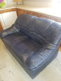 2 Seater Leather Sofa in dark navy blue