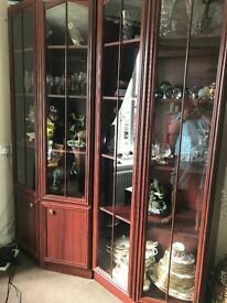 Mahogany Display Units with lighting good condition reason for sale need more room.