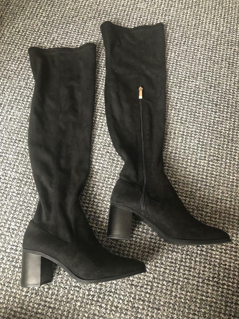 00215feb88c ZARA Suede Leather Over Knee Boots Block Heel
