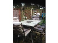 Garden Table & 4 High Swivel Chairs, Bar Style