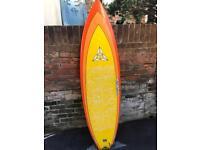 "Oshea surf board 6ft 2"" short board thruster fish tail"