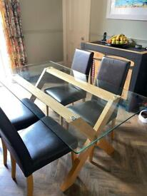 John Lewis Glass topped dining table & 4 chairs