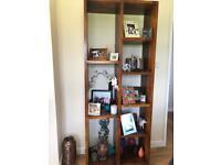Tall wooden wall shelf