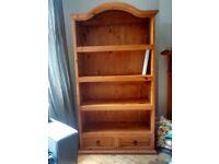 Large pine bookshelf £60 and oak TV cabinet £20
