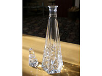 Beautiful and unusual shape lead crystal tall decanter/carafe with stopper £15