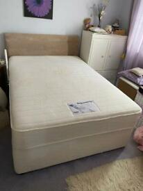 Double bed with headboard, 4 drawers and memory foam mattress