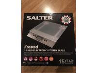 New in Box- Salter Glass 10 Kilo Electronic Kitchen Scale.