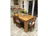 Chunky Oak Dining Table & 4 Chairs