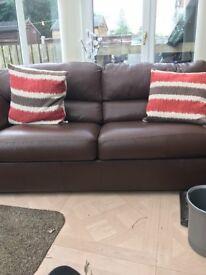 Italian grade A leather 3seater sofa bed