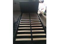 Black leather single storage bed