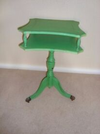 Shabby Chic pedestal side table with 3 clawed feet painted in Annie Sloan