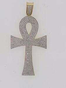 Hip hop ankh cross pendant in 10kt yellow.