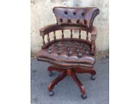 Brown leather chesterfield captains chair - office chair