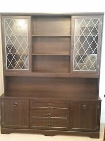 Large display wall unit in dark oak style
