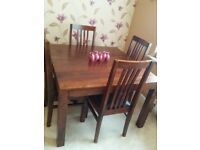 Solid shesham wood 4 seater dining table set