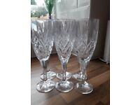 6 Crystal flute glasses