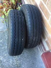 2 Caravan Used Tyres good tread Size 175R14C 98/99R.