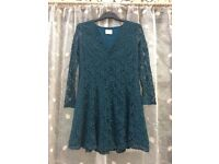 Urban Outfitters teal green floral lace dress, size medium