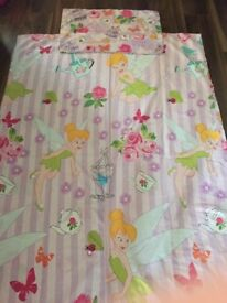Tinkerbell Single Duvet Cover & Pillowcase. Double sided. Girls. Good condition. Collect Totton