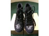 Miso Black glitter wedge shoes(size 6)