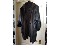 Women's leather coat, size 14-16. Worn, good condition