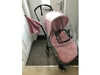 Bugaboo Bee 3 black aluminium frame, grey melange and all pink fabrics 18 months old