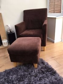 Armchair and matching foot stool