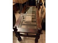 Solid wood with glass coffee table