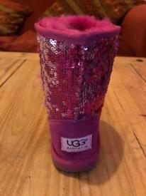 Children's pink and silver sequin ugg boots