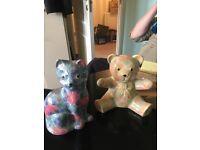 Park Rose Bridlington Ceramic Cat and Teddy bear