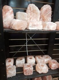 SALT LAMPS, NATURAL, WITH WIRE, SHAPED, WOODEN BASE, CANDLE, WHITE
