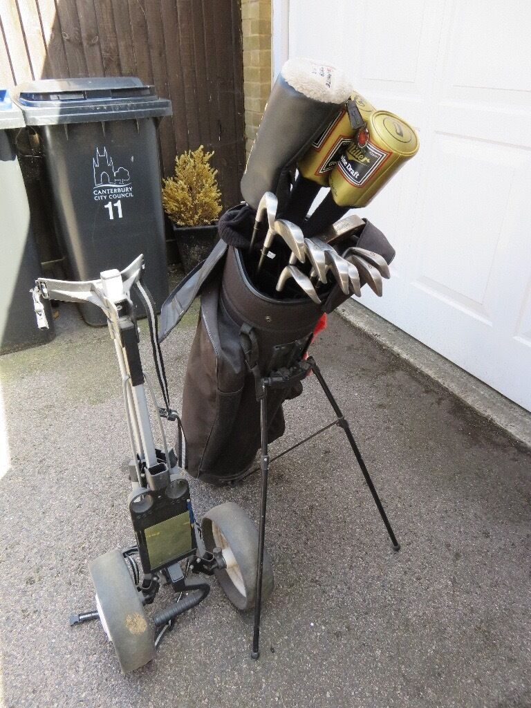 Full set of golf clubs, with bag and trolley, Titleist Irons, Slazenger & Daiwa metal woods