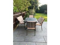 Outdoor table and chairs/benches (inc pillows)