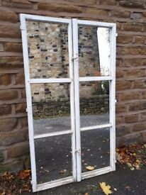 Pair of Vintage Antique French Mirrored Window Shutter Crittall Wooden Doors Mirror Tall Wood White