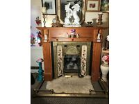 Beautiful, rarely seen- 'Embossed Brass' and cast iron tiled victorian fireplace with a surround!