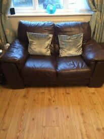 Brown Leather Sofas x 2 plus matching Poof & Matching Coffee Table (DFS)