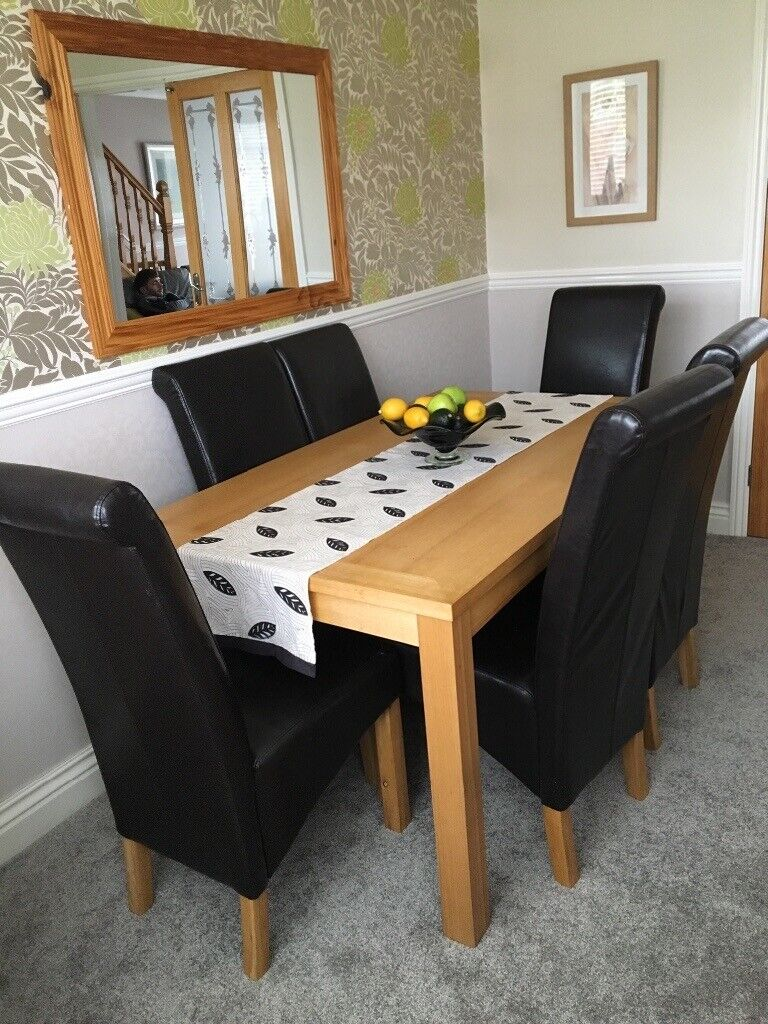 Brilliant Oak Dining Table 6 Leather Chairs In Sunderland Tyne And Wear Gumtree Interior Design Ideas Gresisoteloinfo