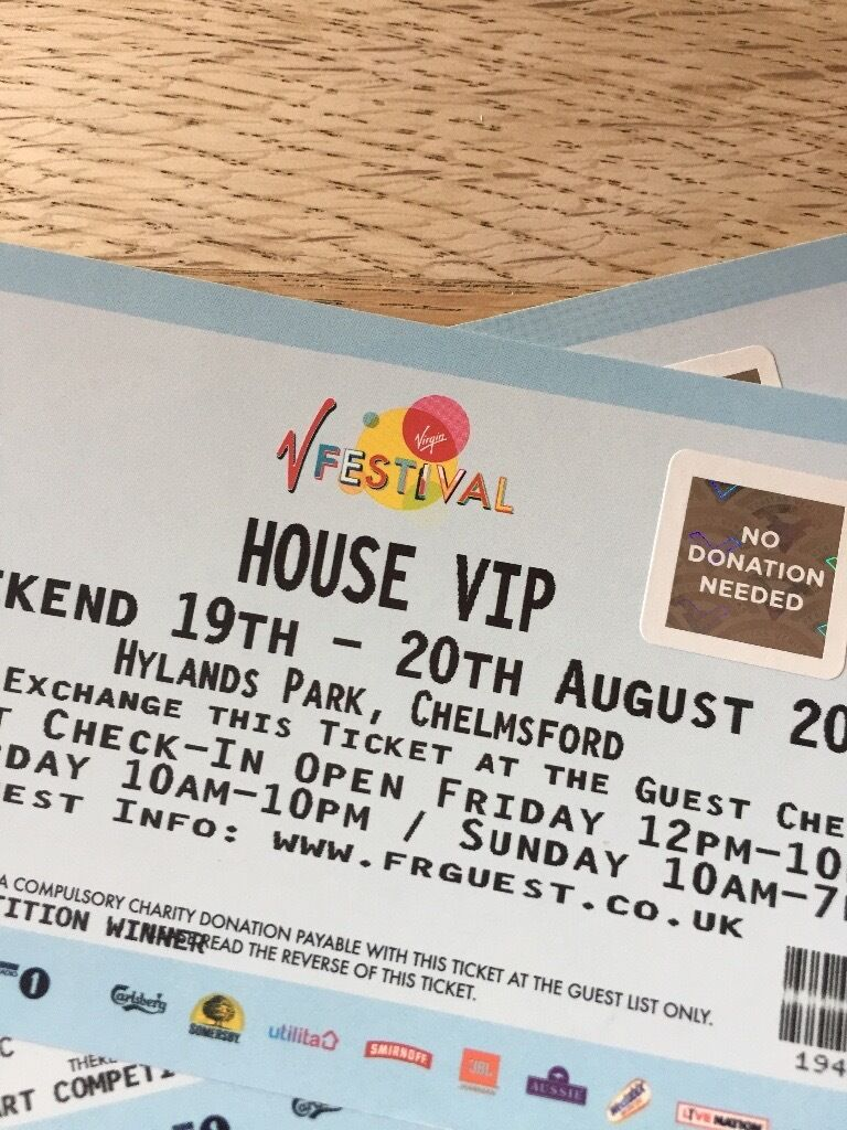 V Festival Full Weekend tickets with Camping and VIP