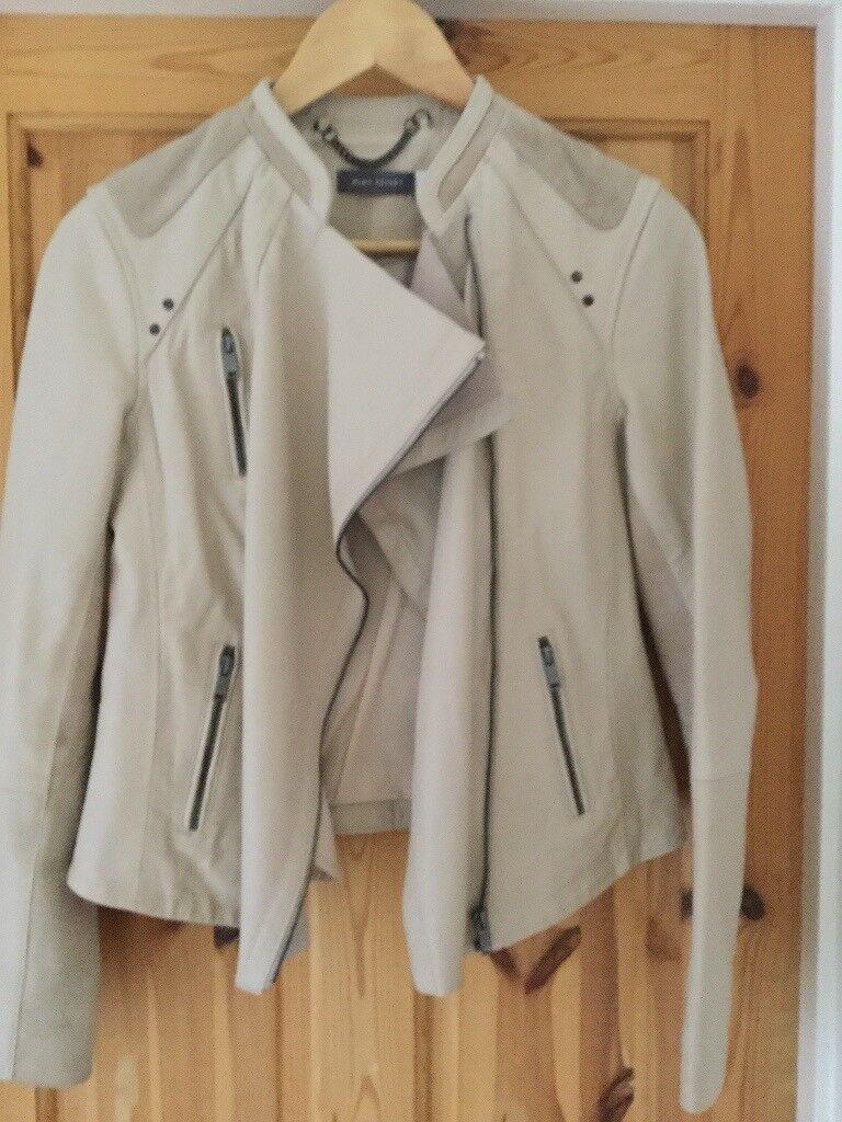 Mint Velvet Women's Cream Leather & Suede Jacket
