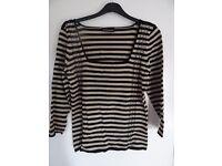 BNWT Principles Black & Tan Striped Top Size 14