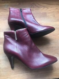 Unworn Jones red ankle boots